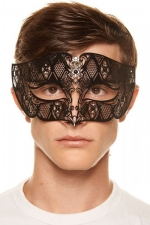 Masque vénitien King 8 : Masque vénitien pour homme en métal noir ciselé au laser décoré de gemmes.