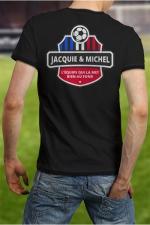 Tee-shirt  Football J&M : Soutenez l'équipe de France de Football à votre manière en portant le Tee shirt Jacquie et Michel spécial Foot.