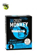 3 Préservatifs Crazy Monkey Fun & Friction : 3 préservatifs transparents dotés de picots et de nervures, pour accroitre les sensations de votre partenaire, marque Crazy Monkey.